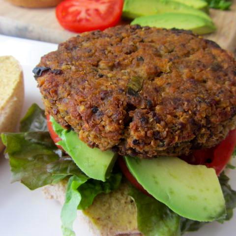 miso quinoa chickpea burger como water